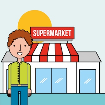 Man character standing front supermarket