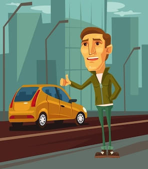 Man character trying to catch taxi cartoon illustration