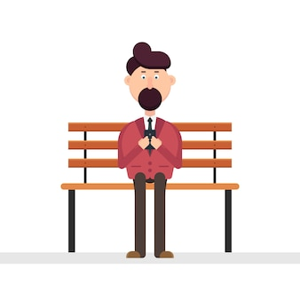 Man character using smarphone on the bench  illustration