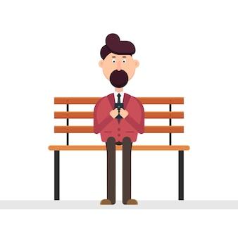 ベンチのイラストをスマーフォンを使って男キャラクター