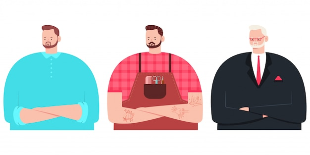 Man character vector cartoon set barber stylist, businessman in suit and young bearded guy isolated.