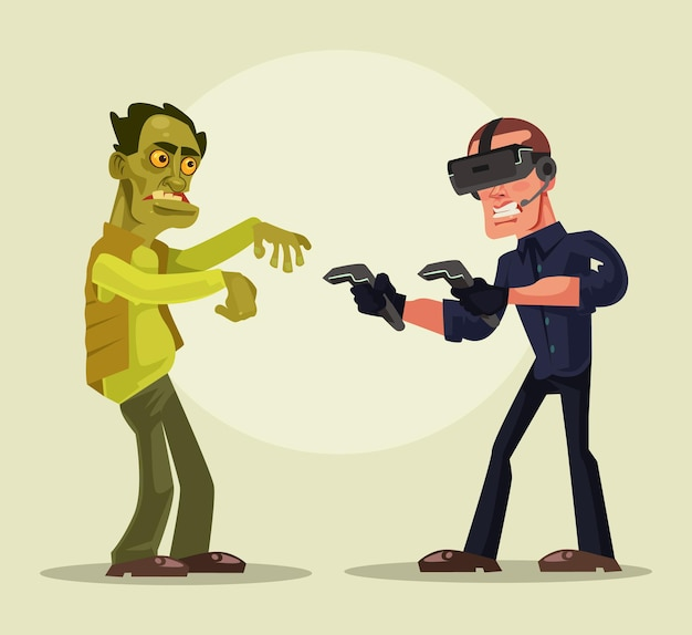Man character in virtual reality glasses struggling with zombies