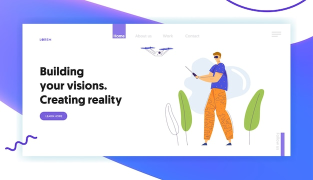 Man character in virtual reality goggles flying drone with remote control