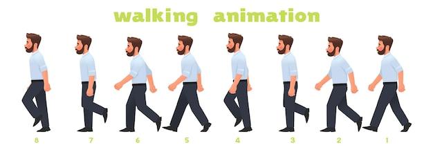 男性キャラクターの歩行アニメーション。ビジネスマンは、写真のステップバイステップのサイクルで歩きます。漫画スタイルのベクトル図
