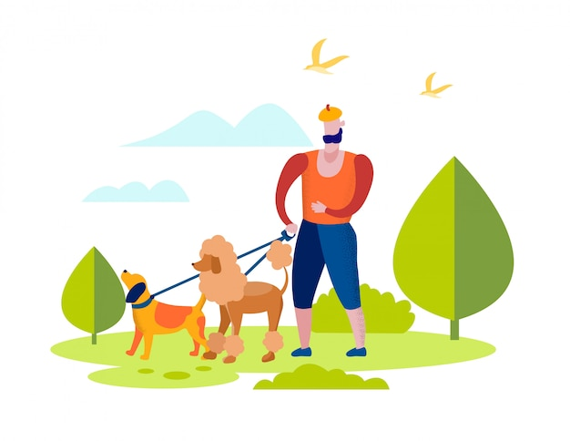 Man character walking with dogs team in park.