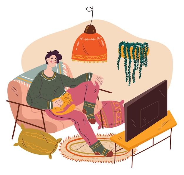 ソファの家のリビングルームのイラストに座ってテレビを見ている男のキャラクター