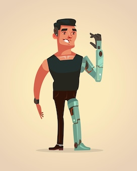 Man character with artificial parts of body.