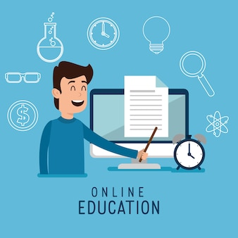 Man character with education on line icons