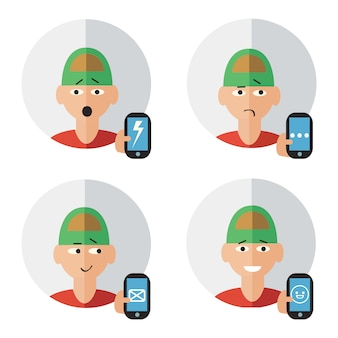 Man character with mobile phone in hand human emotions set isolated vector illustration