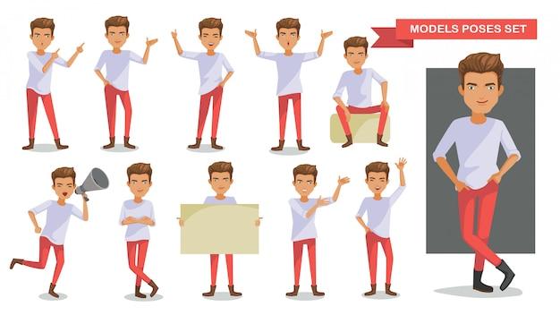 Man characters posture set.