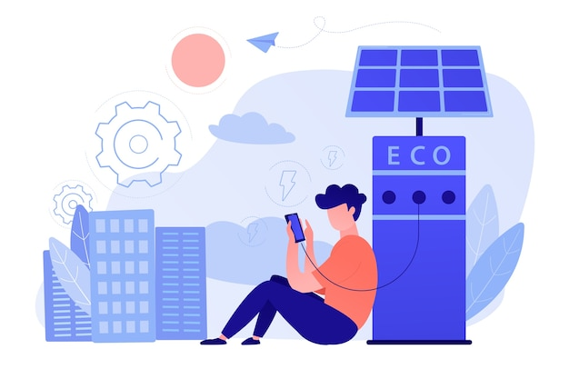 Man charges smartphone from solar recharge station. ecological renewable charging systems, smart bus stops, iot and smart city concept. vector illustration
