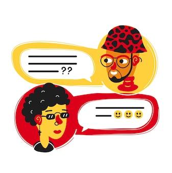 남자 채팅, 여자와 이야기. 벡터 평면 현대적인 스타일 만화 캐릭터 그림 아이콘 디자인. 흰색 배경에 고립. 대화 메시지, 메신저 채팅 개념