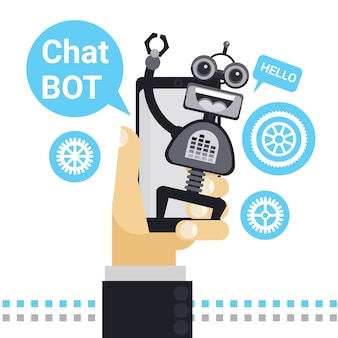 Man chatting with chat bot on cell smart phone