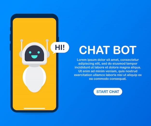 Man chatting with chat bot in smartphone template