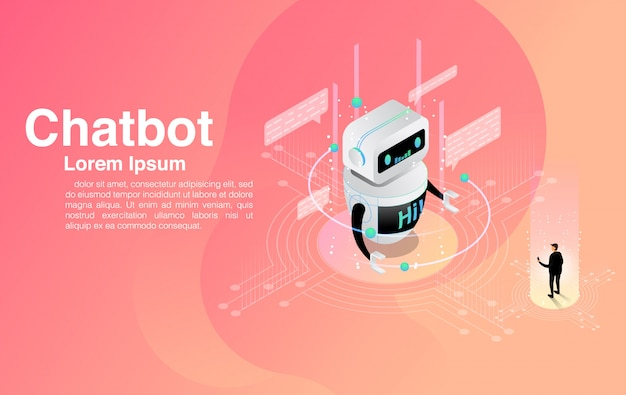 Man chatting with chatbot application. dialog help service. ai and business iot .