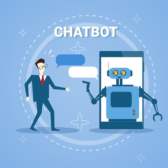 Man chatting with chatter bot from smart phone online support assistance technology