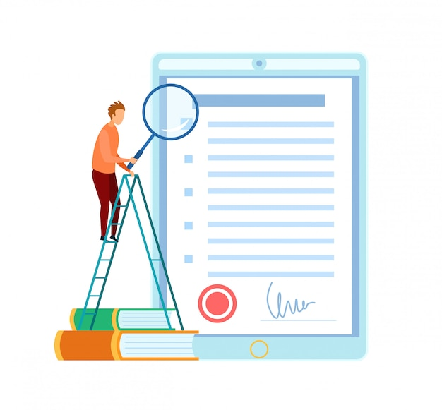Man checking business contract flat illustration