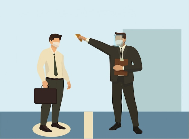Man checking an employee's temperature before entering the office concept illustration