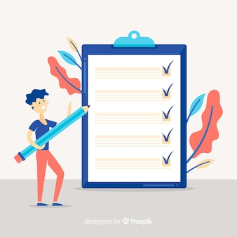 Man checking giant check list Free Vector