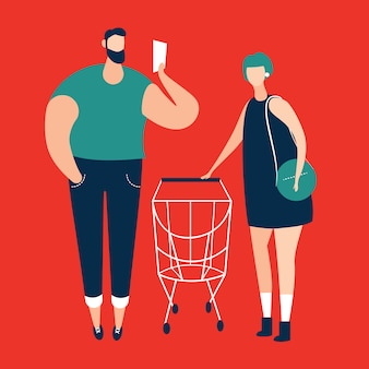 Man checking shopping list and women carrying shopping trolley at supermarket. vector illustration.