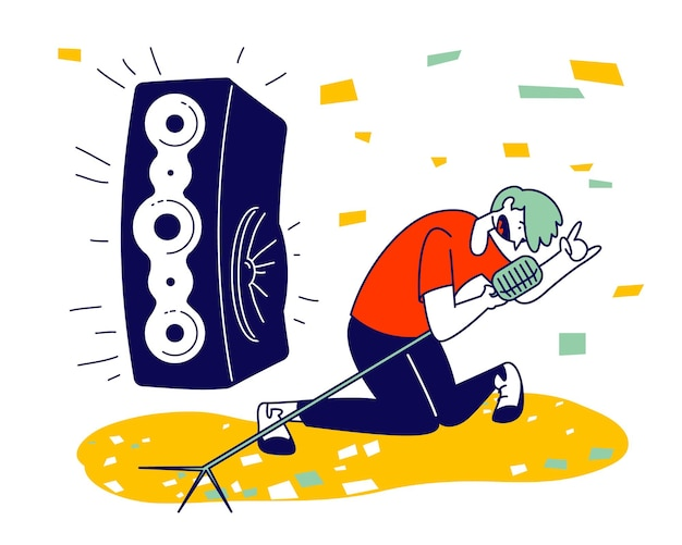 Man cheering, dancing and jumping on stage performing rock composition in karaoke bar. cartoon flat illustration