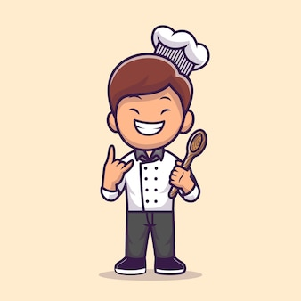 Man chef cooking cartoon illustration