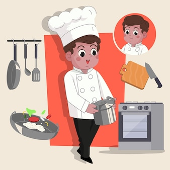 Man chef cute 2d character ready for animation complete with job tools