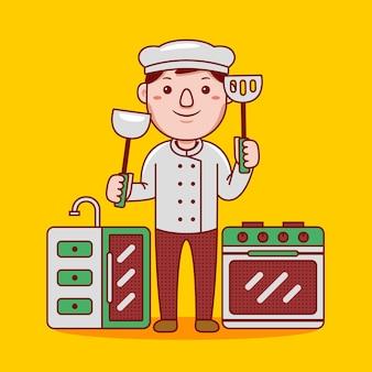 플랫 만화 스타일의 남자 요리사 직업