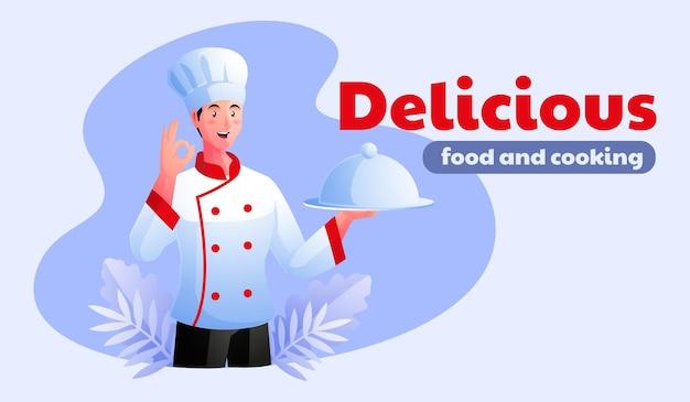Шеф-повар человека предлагает вкусную еду