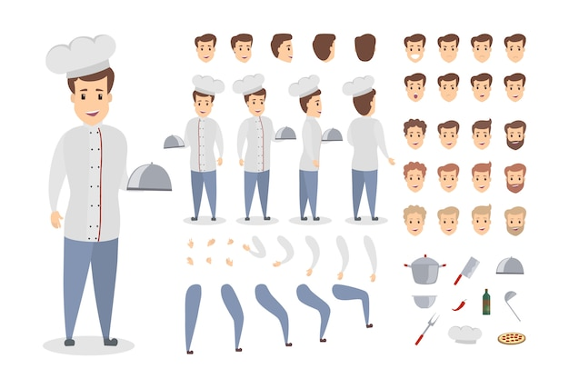 Man chef set. poses and emotions of man.