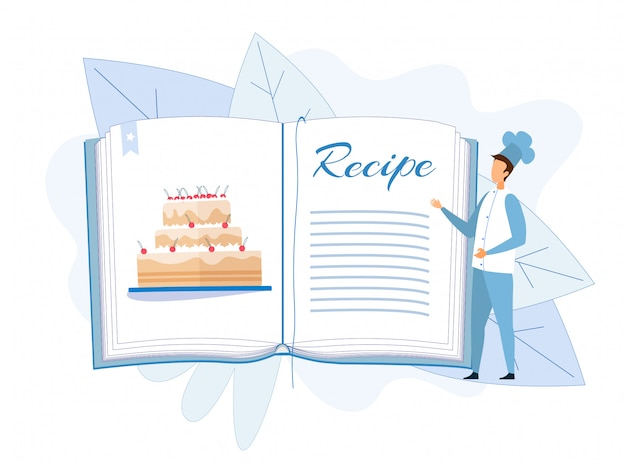 Man chef standing near cake recipe in cook book