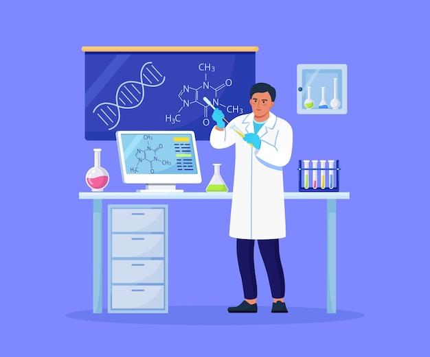 手に液体のフラスコを持つ男の化学者。科学者は実験室でワクチン発見のための機器を実験しています。抗ウイルス治療の開発に取り組んでいる医師