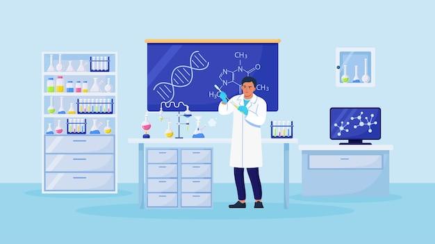 Химик человек с колбами с жидкостью в руке. ученый экспериментирует с оборудованием для открытия вакцины в лаборатории. врач работает над разработкой противовирусного лечения
