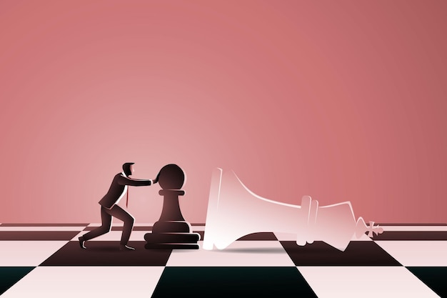 Man on chess board pushing chess pawn to fall down white king chess
