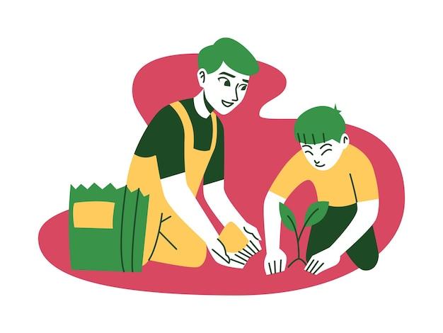 Man and child gardening plan