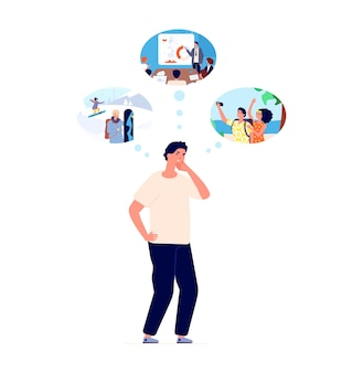 Man choose. person thinking, thoughtful guy confused by problem. male doubt, dreaming or make choice, solution finding vector illustration. man choose business or rest, make solution