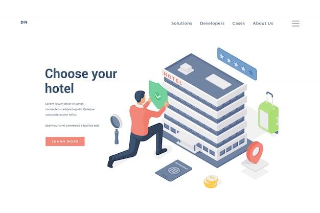 Человек, выбирая и утверждая отель. иллюстрация
