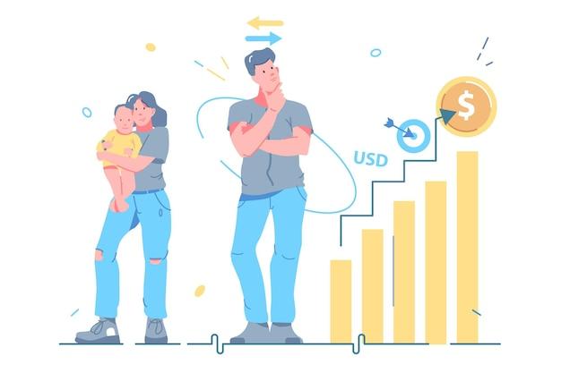 직업 또는 가족 벡터 삽화 중에서 선택하는 남자. 경력 대 가족, 인생 경로 플랫 스타일. 일과 가정 생활의 균형, 생활 방식 선택 개념. 흰색 배경에 고립
