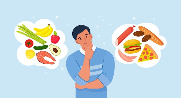 건강에 좋은 음식과 건강에 해로운 음식 사이에서 선택하는 남자. 패스트푸드와 균형 잡힌 메뉴 비교, 다이어트. 좋은 영양과 나쁜 영양 사이의 선택