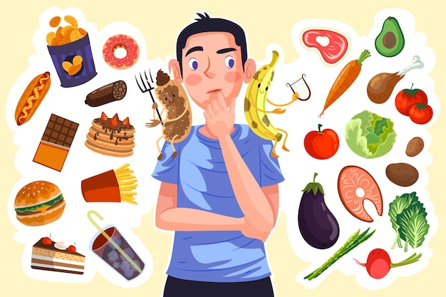 건강에 좋은 음식과 건강에 해로운 음식 중에서 선택하는 남자