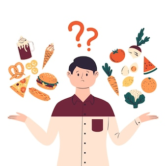 Man choosing between healthy or unhealthy food illustration