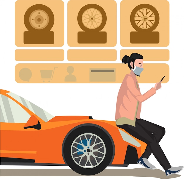 A man choosing new tires for his car via online car service illustration