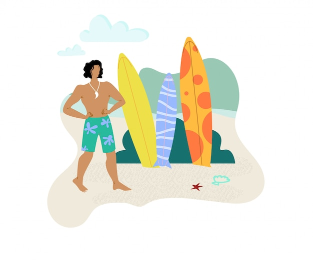 Man choosing surf board flat vector character