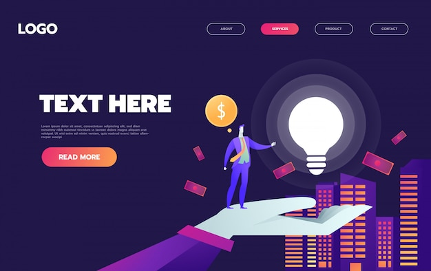 A man in city with big light bulb, and money, idea, start up launching, business success, violet palette, website landing web page template,