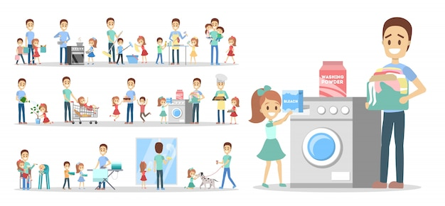 Man clean home and doing a housework with children set. househusband doing everyday domestic routine and kids help him.    illustration