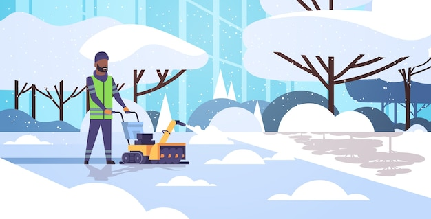 Man cleaner in uniform using snowblower snow removal concept african american worker cleaning winter snowy park landscape flat full length horizontal vector illustration