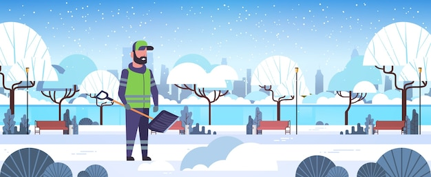Man cleaner using plastic shovel snow removal winter street cleaning service concept urban snowy park landscape flat full length horizontal vector illustration