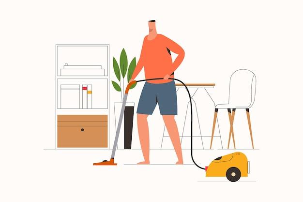 진공 청소기 평면 벡터 일러스트와 함께 집을 청소하는 남자