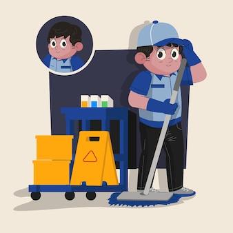 남자 청소 서비스 귀여운 2d 캐릭터가 작업 도구로 완성된 애니메이션 준비
