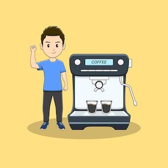 手とコーヒーマシンを食いしばっている男